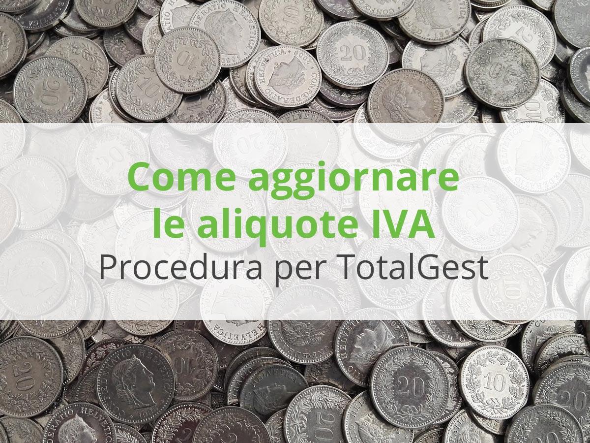 Aggiornare le aliquote iva in totalgest softcodex for Aliquote iva in vigore 2017